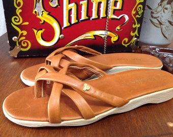Vintage Deadstock Famolare Strappy Sandals - Famolare Strappy Toe Wrap Sandals - Famolare Wavy Sole Sandal