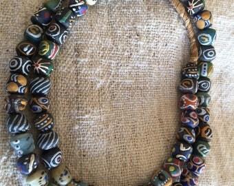 """Ghana mix powder glass beads -Africa trade beads  krobo trade beads 24"""""""