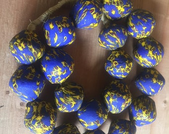 """Ghana New producation powder glass Africa trade beads eggs shaped beads 24"""""""