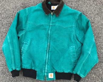 Vintage Carhartt Duck Jacket Hooded Brown Workwear Made In Usa