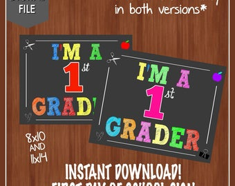 I'm a 1st Grader Sign - First Day of School Chalkboard - First Grader - First Grade Sign - Digital - Instant - First Grade Chalkboard - 1st