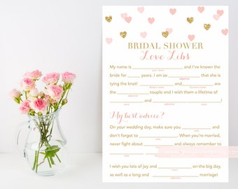 Gold glitter blush pink heart confetti bridal mad libs Printable, shower game, bridal shower love libs, INSTANT DOWNLOAD 015