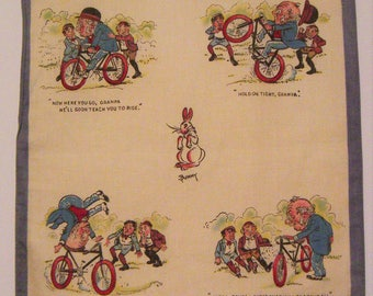Antique Designer BUNNY Granpa Teaching Boys to Ride Bike Hankie