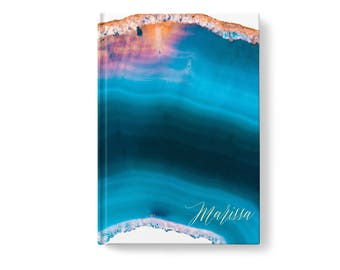 Marble Stone Personalized Journal, Blue Marbled Stone Pattern, Personalized Journals for Women, Gift jn0011
