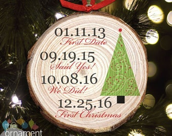 Couple's first Christmas important dates Christmas tree cut pine wood ornament MWO-005