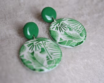 Earrings long fimo/polymer clay - green, white - jungle, forest, ferns, plants motif