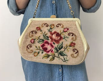 Vintage Needlepoint Handbag, Vintage Needlepoint, Floral Purse, Pretty Floral Purse, Chain Link