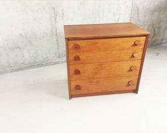 1960's mid century Stag Cantata 4 drawer chest of drawers  by John & Silvia Reid