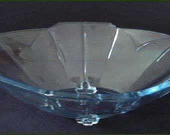 SOWERBY ART DECO Blue Glass Bowl - Chevron Oval Design English Pattern #2631