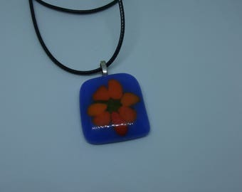Blue Fused Glass Pendant