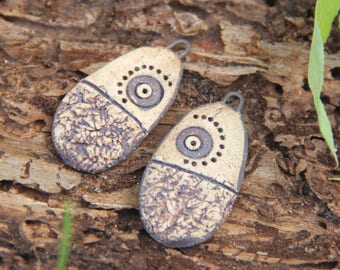 A pair of stoneware ceramic dangles, RUSTIC EARTHY NATURAL - handmade jewelry components