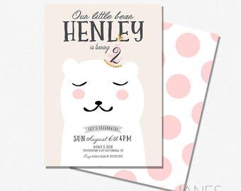 "Little Bear Birthday Invitation  | Digital Printable Bear Invitation | 1st Birthday Bear Cub Invitation - 5X7 with *bonus reverse side"""
