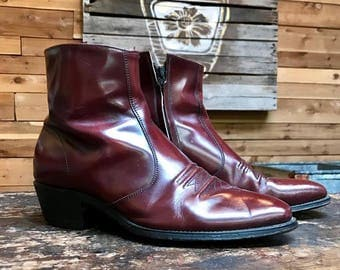 Vintage 1970s Oxblood Red Western Ankle Boots Vtg 70s Short Leather Boots Men's Size 12