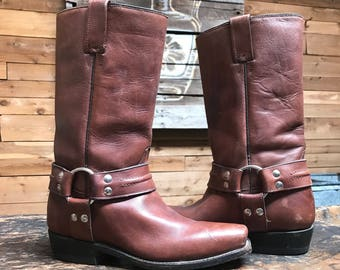 Vintage Harness Boots Vtg Brown Leather Motorcycle Biker Boots Women's US 7 1/2 Wide Mexico 24 1/2 EE