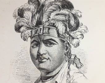 1889 - Original french antique etching of Thayen Daneega, Mohawks / Six Nations chief - Antique engraving from Paris France
