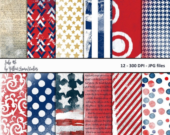 "Red white blue digital paper ""July 4th"" red white blue, digital paper, patriotic, grunge, stripes, patterned, fourth July, America party"