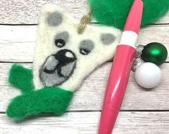 Felt Polar Bear Ornament, Polar Bear Felted Decoration, Cute Needle Felt Arctic Animals, Fox, Polar Bear Bauble, Cute Animal Home Decor.