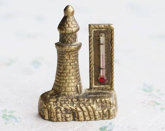 Brass Lighthouse Thermometer - Rustic Steampunk Home Decor