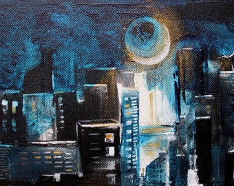 The Golden - Ray landscape urban night - acrylic painting on canvas 24 x 16 cm