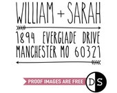 "Custom Address Stamp, personalised stamp, return address stamp, envelope stamp, address rubber stamp, new home stamp, RSVP, 2""x1.5"" (cas18)"