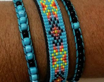 Blue Seed Bead Bracelet, Native American Bracelet, Leather Bracelet,