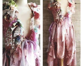 Pink Sunshine Shabby Chic mori Lace Cardigan vest Jacket Shrug Sweater Top Embellish textile crop art ruffle trim fuzzy bolero upcycled S M