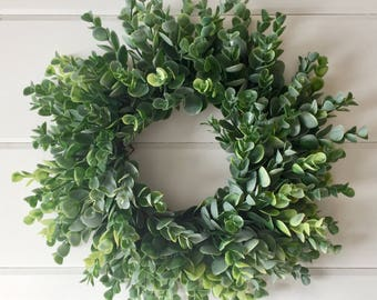 Farmhouse Faux Greenery Wreath | Frosted Eucalyptus Wreath | Eucalyptus Wreath | Farmhouse Decor | Fixer Upper Style | Small Wreath