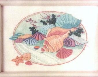 Dimensions Crewel Kit- Pastel Shells by Barbara Mock 6165, bathroom, ocean, sea, shell, beach, cabana, summer
