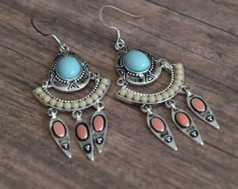 Bohemian Earrings, Boho Earrings, Tribal Earrings, Gipsy Earrings, Gift Idea, Gift Under 20 Dollar, Gift For Her, Oriental Earrings