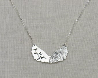 Angel Wing Jewelry, Fingerprint Jewelry, Handwriting Jewelry, Silver Angel Wing Necklace with Fingerprint and Handwriting, Memorial Jewelry