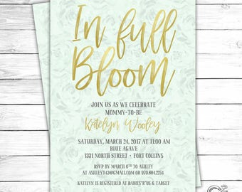 In Full Bloom Neutral Baby Shower Invitation