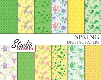 80% OFF - LIMITED TIME - Spring Digital Papers, Green Paper, Flowers and Leaves Backgrounds in Green and Yellow, Scrapbooking Supplies A181