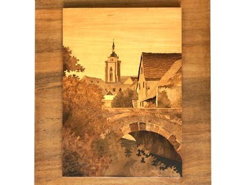 Vintage Spindler Marquetry Inlaid Wood Art - French Village