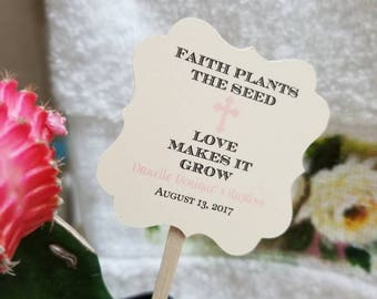 """Personalized Favor Tags with stick 2x2"""", tags, Thank You tags, Favor tags, let love grow, watch me grow,  (oneside only), baptism"""