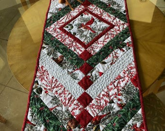 Christmas Cardinals Table Runner, skinny quilt or bed runner