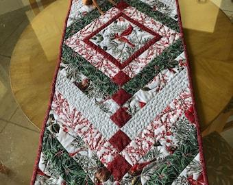 Christmas Cardinals Table Runner, skinny quilt or bed runner