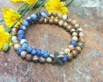 Set of 2 blue sodalite & picture jasper beaded stretch bracelets stackable yoga bracelets starfish beach accessories earth toned jewelry