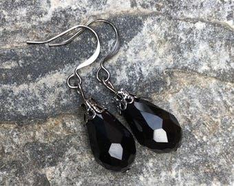 boho earrings black glass earrings faceted glass black earrings  bohemian accessories country chic dangle drop earrings teardrop earrings