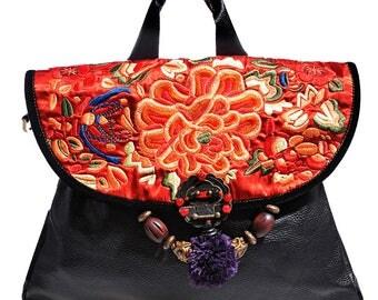 Miya's Original Ethnic Hmong Embroidered Bag Leather  Purse Shoulderbag - Warmth