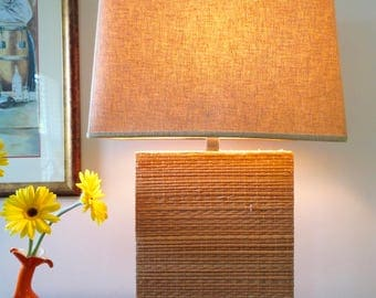 Vintage Mid Century Ceramic Wicker Table Lamp with Shade - Natural Wicker