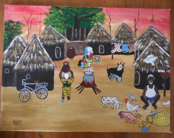 West African Village Scene at Sunset, Acrylic on canvas