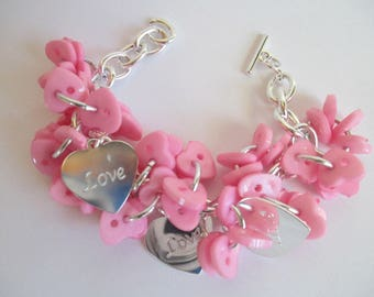 Cluster Bracelet, Charm Bracelet, Buttons, Pink Heart Button Bracelet, Beautiful Chain, 3 Love/Heart Charms-7 1/2, Toggle Clasp -Adjustable!