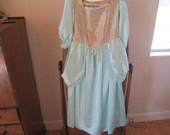 Princess Dress - Cinderella - Period Costume - Mint Green Child's Costume - Handmade - Used on stage in Production of Cinderella - Satin!