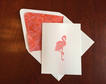 Hand-Embossed Flamingo Folded Notecard with Lined Envelope