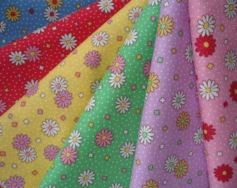 Bundle of 1/8 Lecien Retro 30's Child Smile Daisies and  Dots Fabric in 6 Colorways. Made in Japan