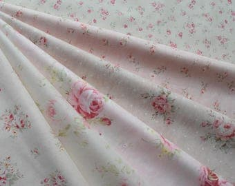 "Bundle of 1/8 Lecien Durhum Quilt Collection Pretty Pink Floral Fabric Set. Approx. 9"" x 21"" Made in Japan"