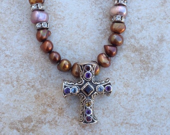 Sterling Silver Cross with Sparkling Semi-Precious Stones with Brown Pearl Necklace