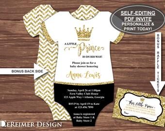 Little Prince Baby Shower Invitation, Prince Invitation, Black,  Gold, Glitter, Self-Editing PDF Invite, BONUS Diaper Raffle Tickets File