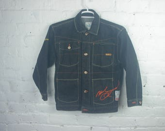 FUBU X Muhammad Ali Colab Denim Jacket coat 90s platinum jean blue