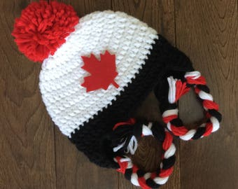 Canada 150 Hat with Maple Leaf Patch, Crochet Canada Earflap Hat, Photo Prop, Baby Toddler Child Adult Canada Day Hat